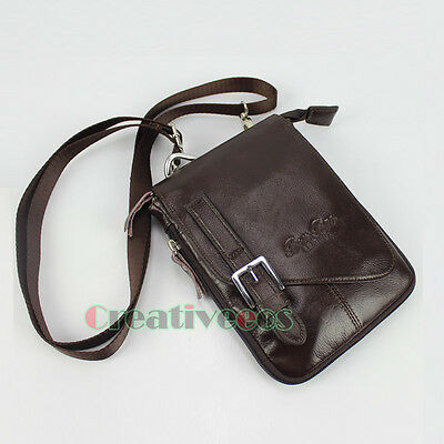 Men's Leather Snaps Hook Fanny Pack Pouch Crossbody Shoulder Messenger Waist Bag