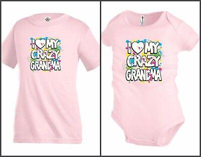 I love my Grandma Heart Funny Kids T shirt Youth tee Baby Toddler bodysuit K63