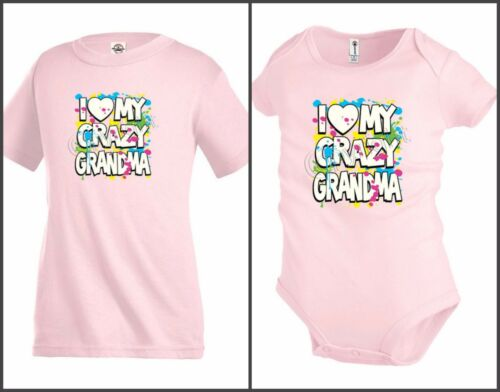 I love my crazy Grandma Funny Kids T shirt Youth tee Toddler Baby bodysuit KP35