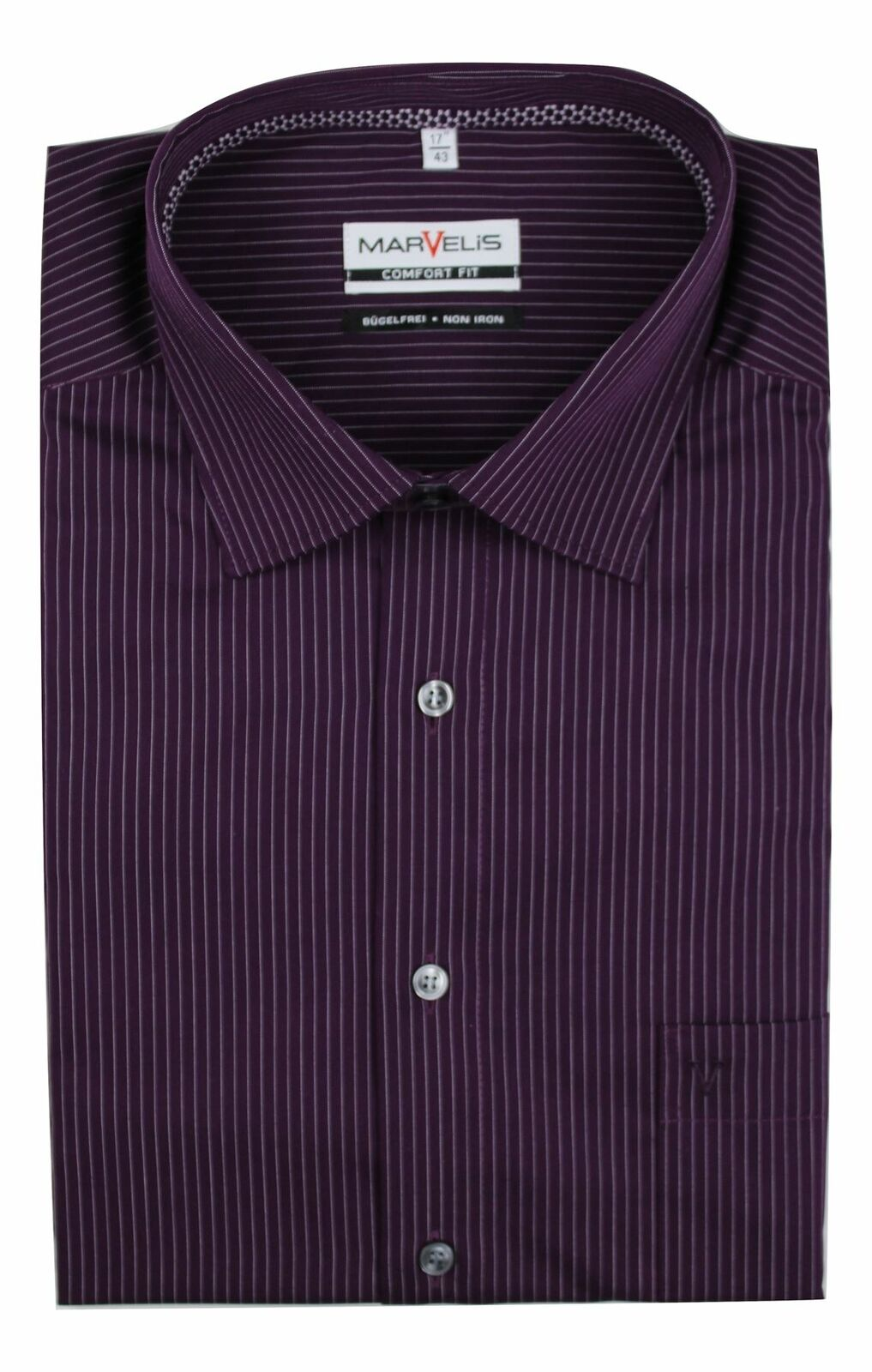 Purple Pinstripe Spread Collar