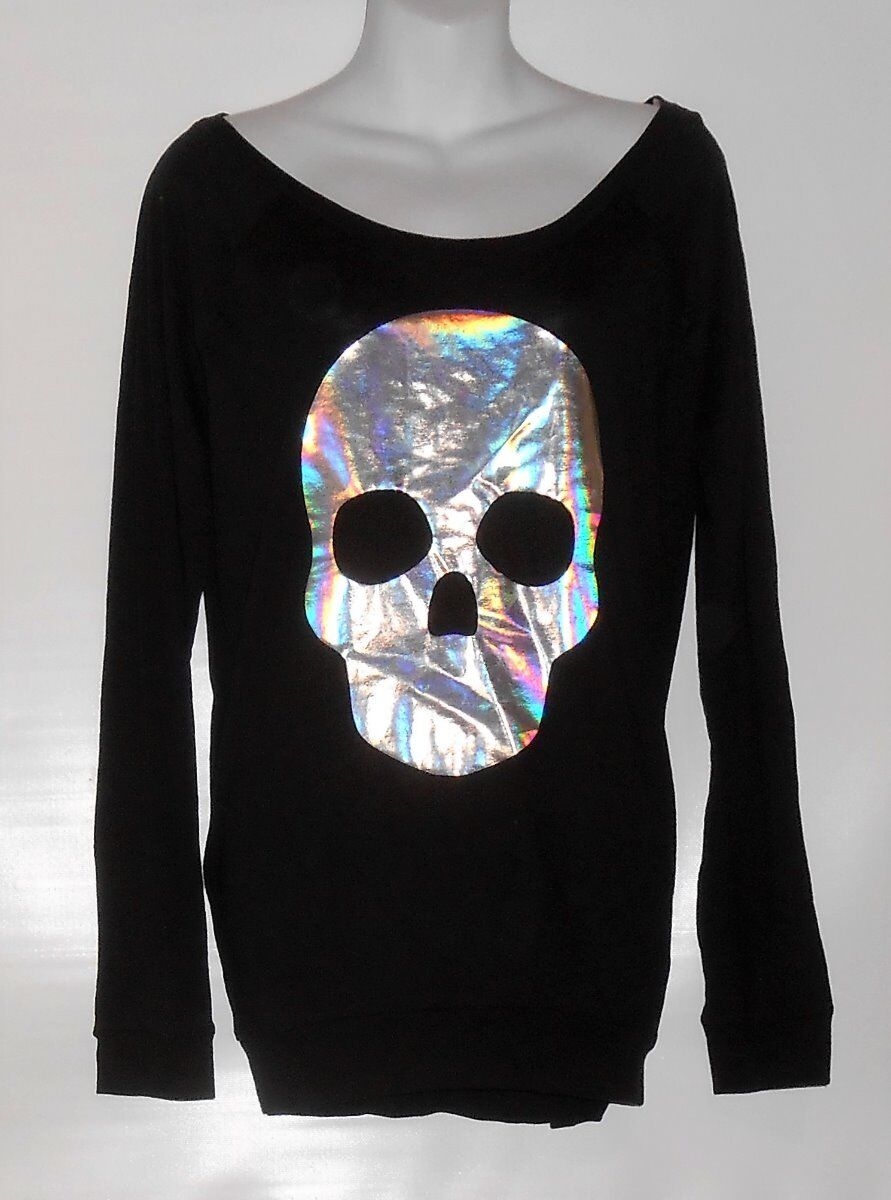 Victoria's Secret Rosa Long Sleeve Banded Hemline Graphic Foil Skull Top schwarz S