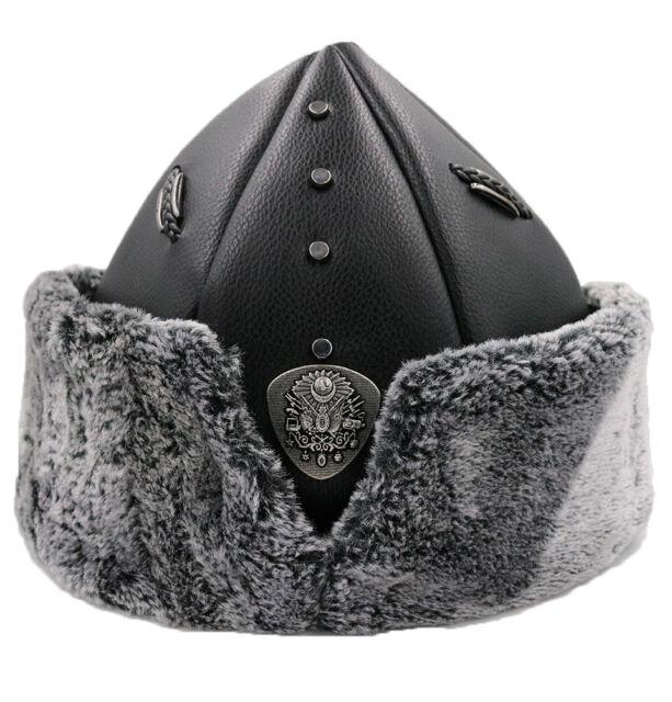 "Turkish Ottoman Bork Hat Ertugrul Dirilis Fur Leather Cap /""Iyi/"" #2017i"