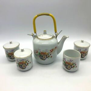 National-Fine-China-Tea-Serving-Set-Teapot-with-4-Cups-Flowers
