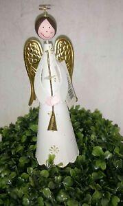 Alas-de-Angel-metal-oro-crema-21cm-Navidad-Vintage-Shabby-Casa-Rural