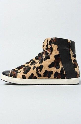 Pour La Victoire HEYDI HI TOP SNEAKER Womens Leopard Pony shoes size 6 US