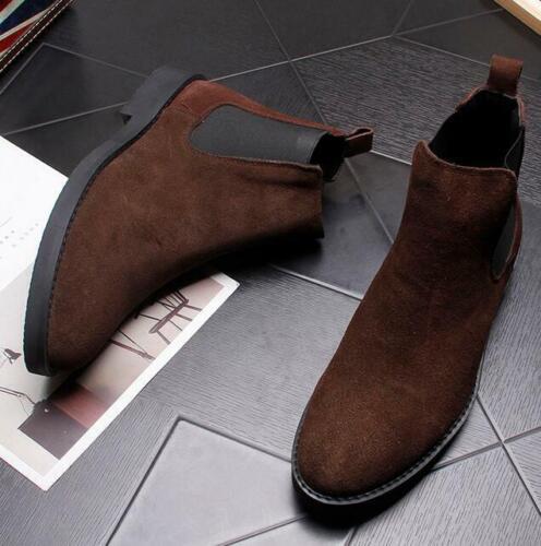 Homme Bottines Chelsea Bottes à enfiler en cuir et daim bout pointue Robe Haut Top Chaussures SZ