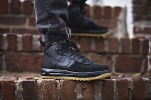 ea1387ded07f NIKE LUNAR AIR FORCE 1 DUCKBOOT BLACK GUM 805899 003 LIMITED US MENS ...