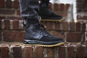 sale retailer 44458 8b8a7 Image is loading NIKE-LUNAR-AIR-FORCE-1-DUCKBOOT-BLACK-GUM-