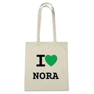 Umwelttasche - I love NORA - Jutebeutel Ökotasche - Farbe: natur