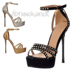 311daa81216242 Image is loading WOMENS-STRAPPY-SPARKLY-GLITTER-METALLIC-HEEL-DIAMANTE- STILETTO-