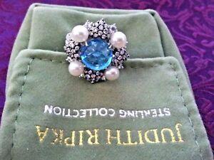 Judith-Ripka-Sterling-Silver-Blue-Topaz-Diamonique-Pearl-Ring-Size-5