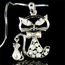 w Swarovski Crystal Cute Kitten KITTY CAT Mouse Charm Pendant Chain Necklace NEW