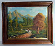 "Vintage 11"" Oil Painting Canvas ESTEVE Mountain Trail Morning Mountains"