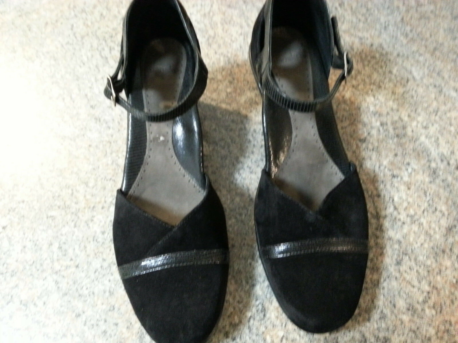 Dansko Roxy Size 41 US 10.5-11 Black Suede Suede Suede Ankle Strap Pumps EXC 48a7fa