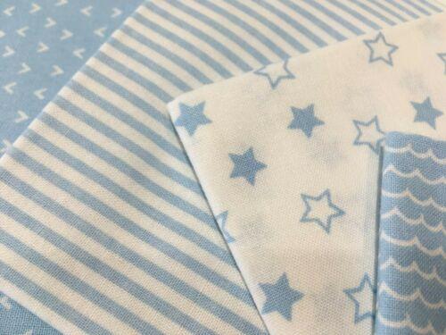 Nursery Basics Bleu Pastel Mix Pretty 100/% tissu de coton 5 Pièce FAT TRIMESTRE BUNDLE