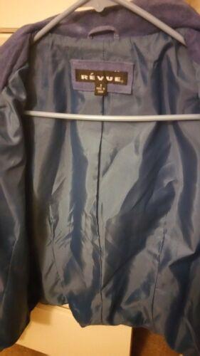 Revue Leather Suede femme courte bleue Veste AStnvX88