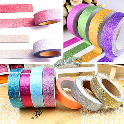 Lot 10pcs Decorative Glitter Washi Tape 15mm Adhesive Paper Sticker Book Decor