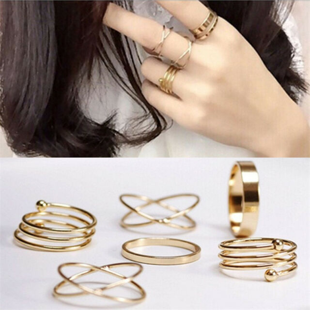 Hot Unique Ring Set Punk Alloy Knuckle Rings for Womens Finger Ring 6 PCS Rings