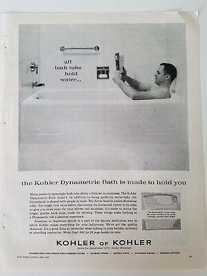 1962 Kohler Of Kohler Bathroom Bathtub Man Reading Newspaper Vintage Ad    EBay