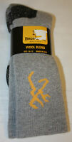 Mens Browning Hosiery 1 Pair Gray Wool Blend Crew Socks Size 10-13
