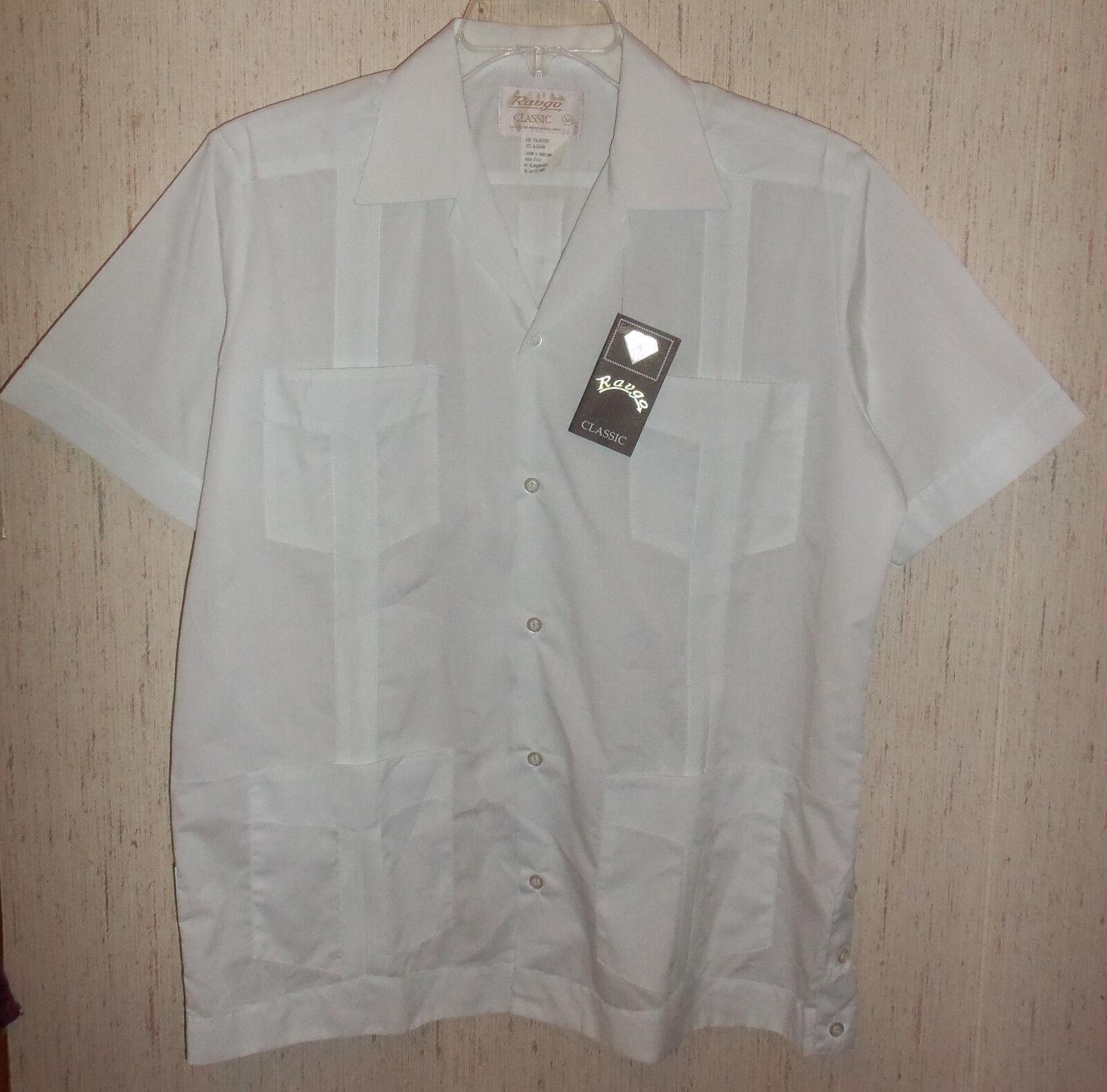 NWT Uomo Ravgo 108 Guayaberas  108 Ravgo CLASSIC bianca  SHIRT SIZE M 72d05d