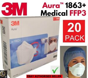 20x 3M™ Aura™ Atemschutzmaske 1863+ FFP3 ohne Ventil II im Originalkarton