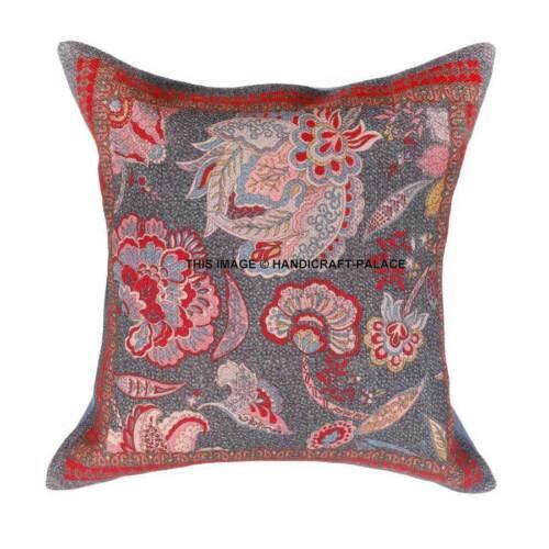 Indian Kilim Cushion Cover 16X16 Pillows Boho Ethnic Jute Rug Throw Pillow Case