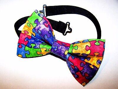 NEW FABRIC BOW TIE W//Adjustable Strap Handmade USA * Autism Awareness Puzzle