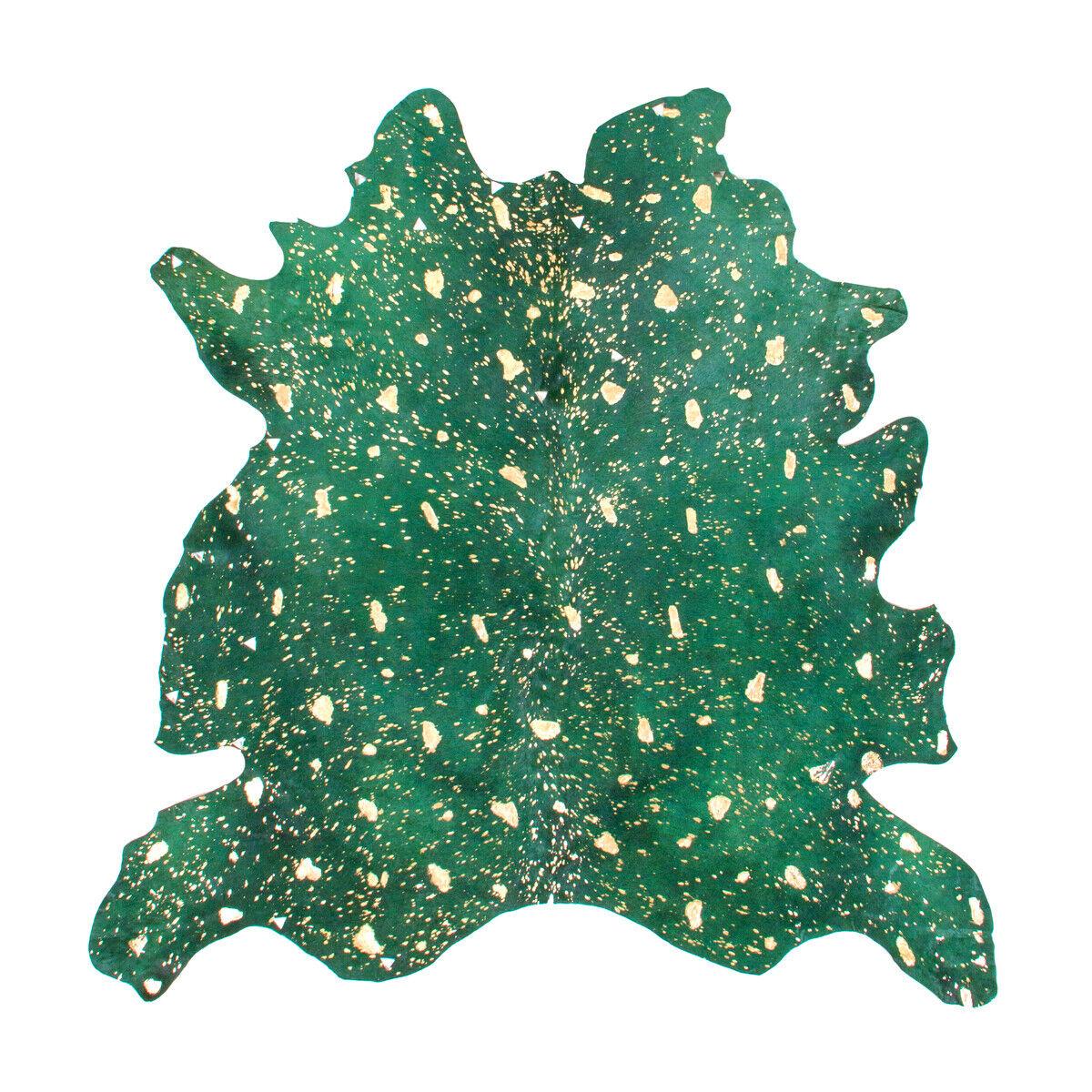 Tapis Tapis Couleurés en cuir Tapis peaux vert or Metallic 135x165