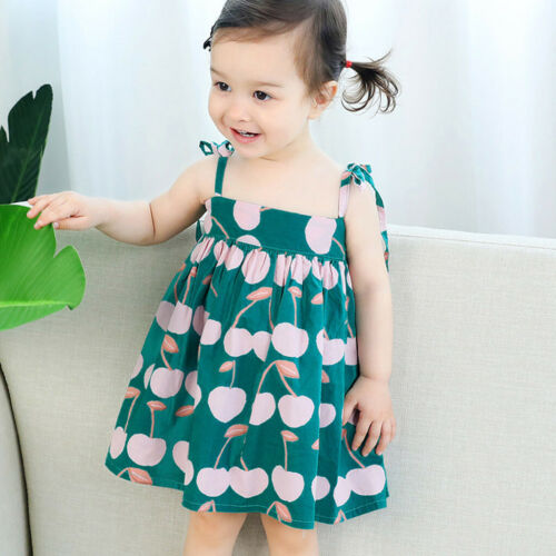 Baby Girls Sleeveless Dresses Litchi Printed Straps Princess Bandage Mini Dress