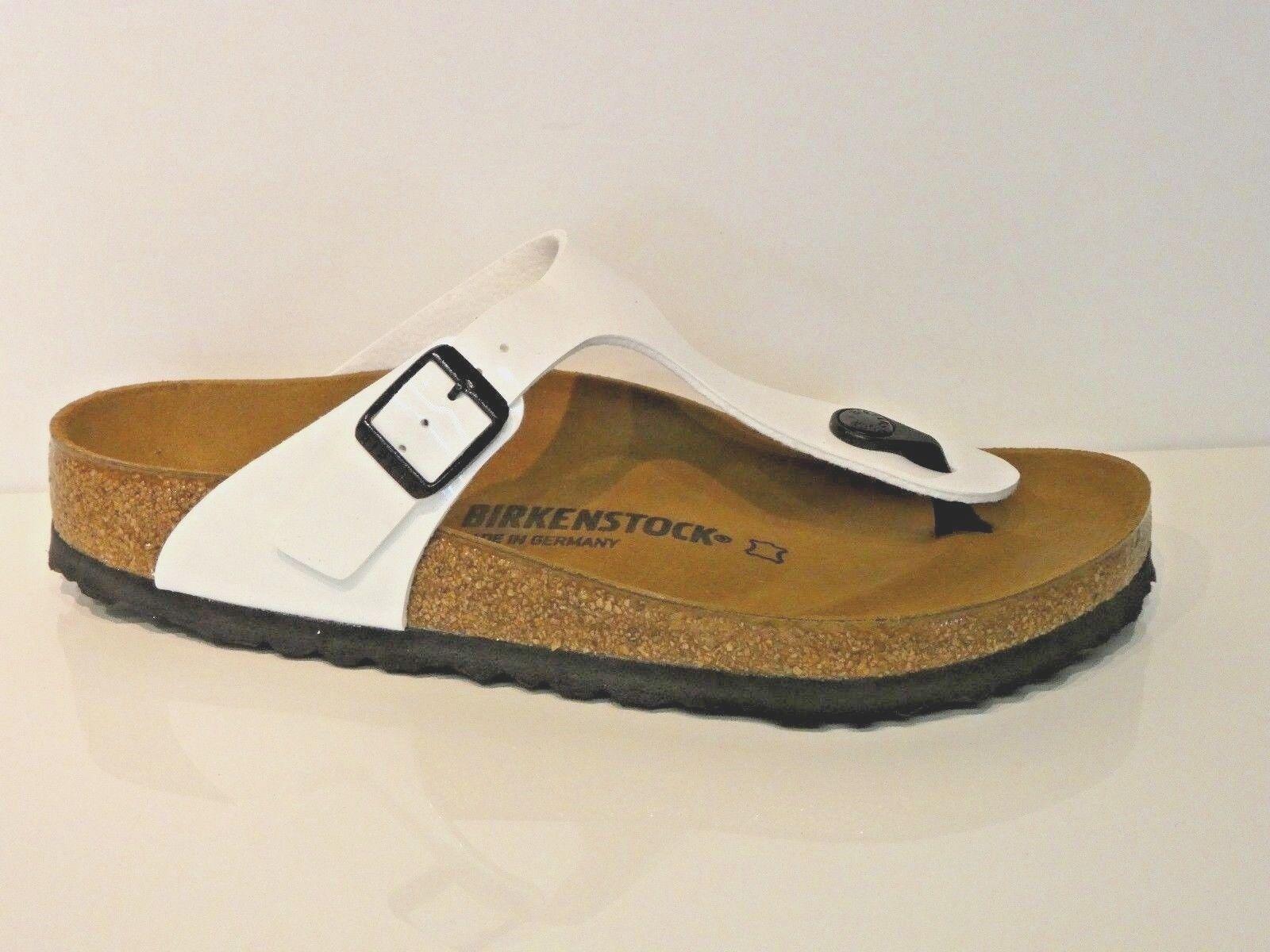 Birkenstock Schuhe Gizeh BS Pantoletten Sandale patent WEISS weiß Lack Normal