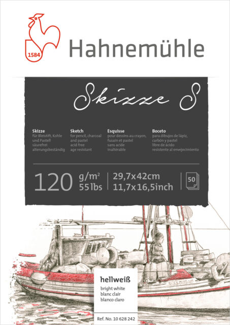 DIN A3 Skizzenblock Hahnemühle Skizzenpapier 50 Blatt Skizze S 120 g//m²