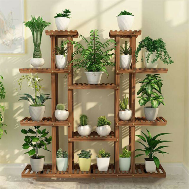 Tiered Wood Plant Stand Carbonized Pot