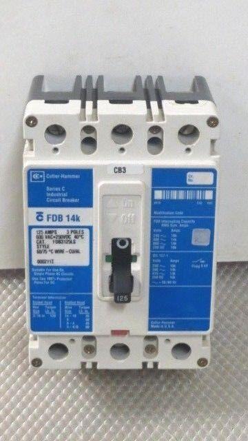 FDB3125LS CUTLER HAMMER FDB 14K BREAKER 125 AMP 600 VAC 3 POLE MODEL