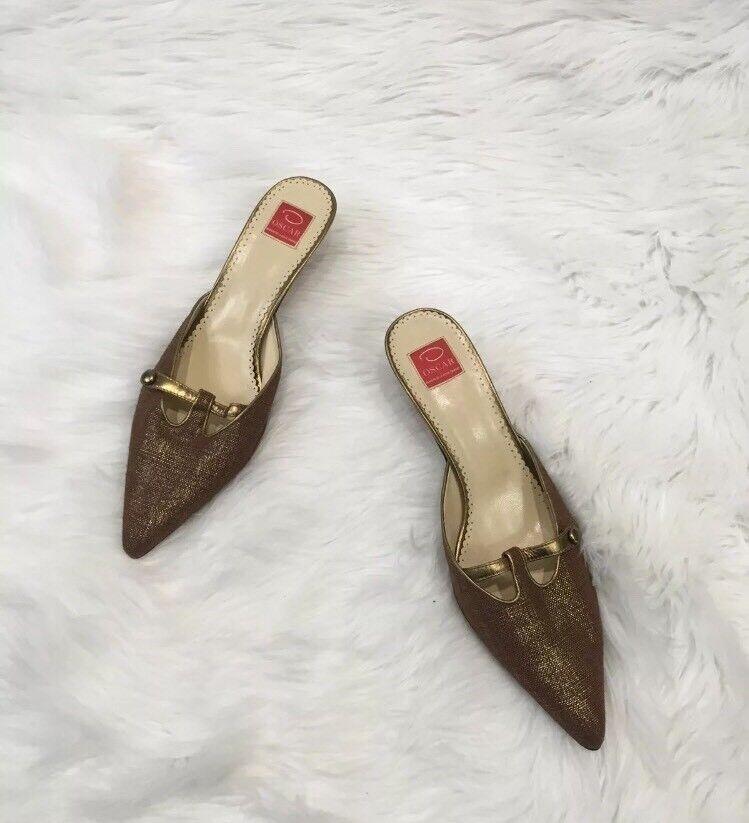 Oscar De La Renta Metallic Pointed Mules Kitten  Marronee oro Shimmer Heels 7.5  colorways incredibili