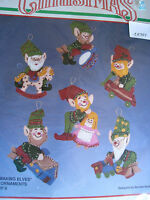 Christmas Bucilla Felt Applique Holiday Tree Ornament Kit,TOY MAKING ELVES,82640