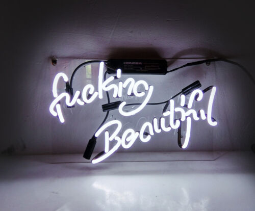 "14/""x9/""Fvcking Beautiful Neon Sign Light Beer Bar Pub Home Room Wall Decor Gift"