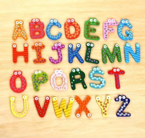 26pcs English letters symbol Wooden Alphabet Fridge Magnet Child Educational Toy