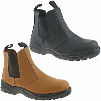 GRAFTERS SAFETY CHELSEA DEALER BOOTS SIZE UK 6 - 12 WORK BLACK OR TAN M955 KD