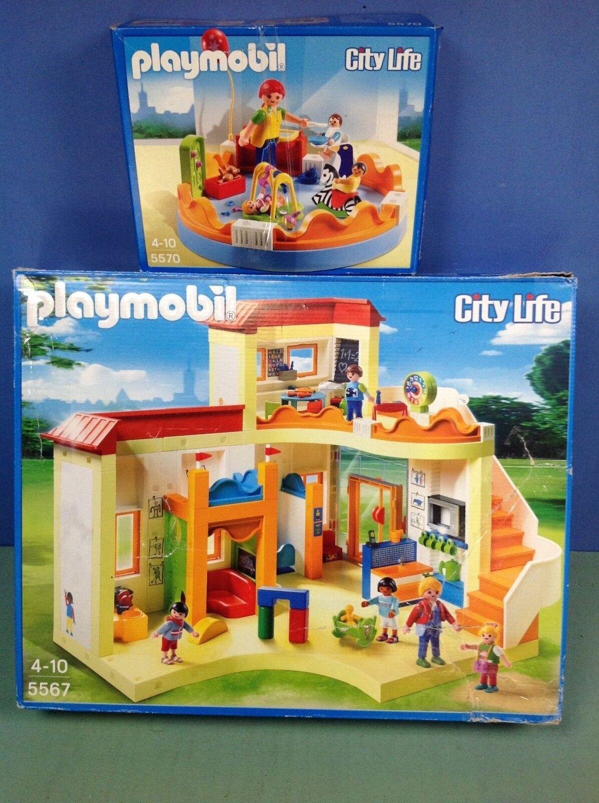 (O5567) playmobil Ecole maternelle ref 5567 + parc à jeux ref 5570 cplt en boite