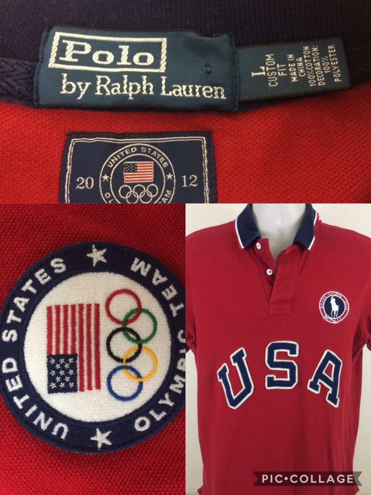 Polo Ralph Lauren Men Polo Shirt Large Red W   USA  Logo- Very Good Condition