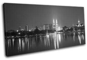 Kuala-Lumpur-Asia-City-Night-Light-City-SINGLE-CANVAS-WALL-ART-Picture-Print
