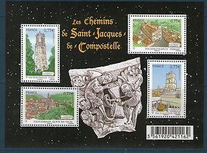 FEUILLET-N-F4641-NEUF-XX-TIMBRES-4641-4644-ST-JACQUES-DE-COMPOSTELLE-2012