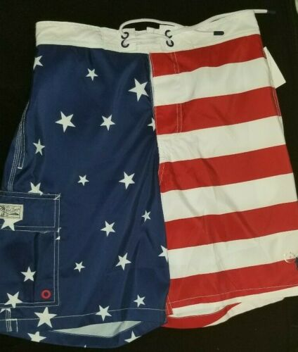 POLO Ralph Lauren Mens Swim trunk shorts New Americana Red white blue flag lined