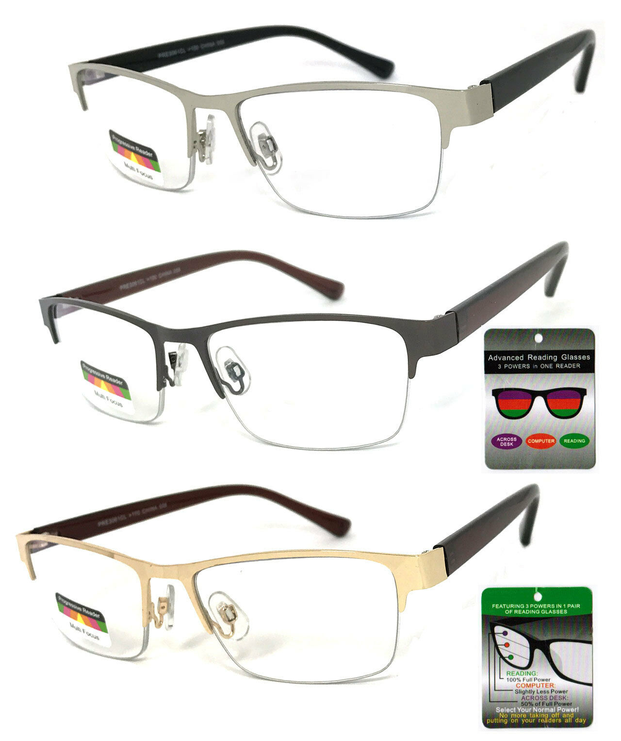 3f1194ffeac Metal Frame Progressive Reading Glasses 3 Power Strengths in 1 ...