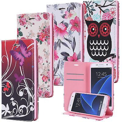 Handy Tasche Flip Cover Case Schutz Motiv Hülle Etui Eule Samsung Galaxy