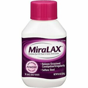 MiraLAX Osmotic Laxative Unflavored Powder Constipation Relief 8.3 oz (5 Pack)