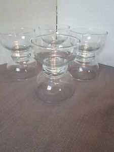 Anchor-Hocking-Clear-Glass-Plain-Footed-Fruit-Dessert-Bowls-Set-Of-8-Made-In-USA