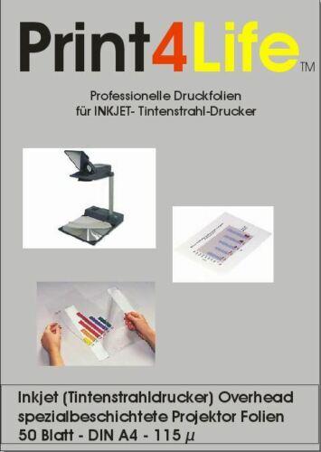 50 Blatt OHP Overhead Folien Inkjet Tintenstrahl Drucker DIN A4