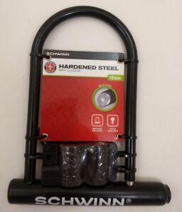 NEW-Schwinn-Key-Keyed-Bike-Lock-12mm-Hardened-Steel-Shackle-U-Lock-w-Bracket
